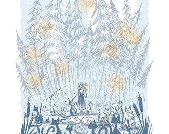 Cattails - Screenprinted Art Print