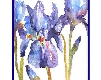 Six Watercolor Purple Irises Cards, Iris Note Cards, Notecards, Iris Prints,iris Lover, Stocking Stuffers