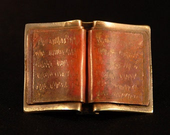 Book Pin - foldformed copper & brass - jewelry for bibliophiles