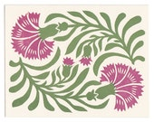 Dianthus linocut greeting card