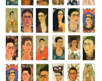 Frida Kahlo Domino No. 1 - 1x2 - Digital Collage Sheet - Instant Download