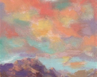 Pastel Mountain Majesty 8x10 Original Oil Painting by Kathleen Farmer Denver Artist