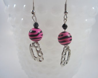 Silver Brass Knuckle Earrings - Pink Zebra Knuckle Duster Earrings - Punk, Rockabilly.Pinup  or Psychobilly Jewelry