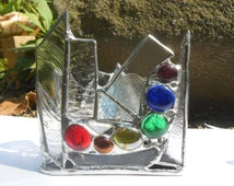 Triangle Shaped Rainbow Themed Stained Glass Candle Holder Chakra zen peace home office dorm studio conversation decor glass gems tranquil