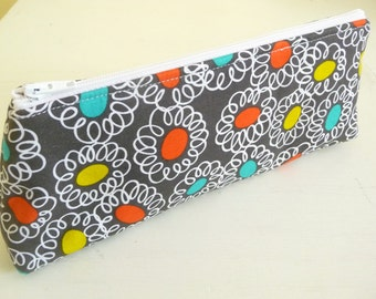 """Bold Modern 9"""" Long Zippered Pouch, Perfect for Colored Pencils"""