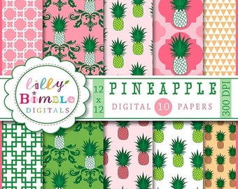 80% off Pineapple Digital Papers for monogramming, crafts, cards, Scrapbook paper Instant Download