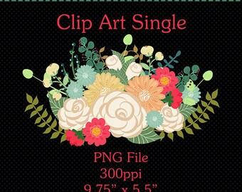 Clip Art Single Bouquet | Floral Clip Art | Digital Art | Instant Digital Download | Digital Scrapbooking Elements | Flower Graphics | Art