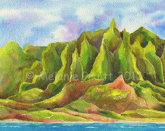 5x7 Kauai Na Pali Coast Painting by Melanie Pruitt as seen at Marriott Hawaii