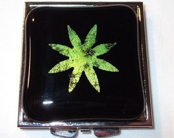 Glass Compact, Black Fused Glass, Double Mirror Compact with Green/Gold Starburst, Handmade Womens accessories, Black Glass Pocket Mirror