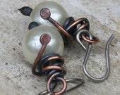 50% Off Pearl Earrings Copper Earrings Copper Jewelry