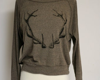 Black Antlers Slouchy Pullover