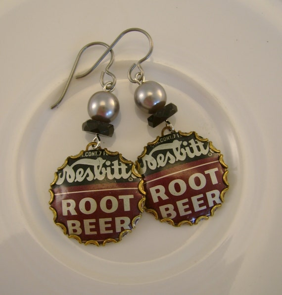 Happy Days - 1950s Nesbitts Root Beer Bottle Caps Swarovski Pearls Niobium Wires Recycled Repurposed Jewelry Earrings