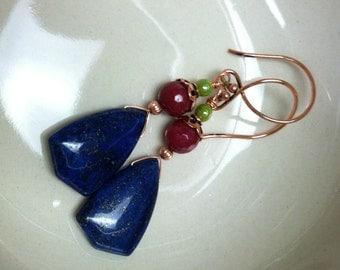 Denim lapis and ruby jade earrings