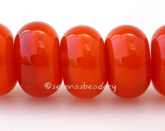 Lampwork Spacer Glass Beads - 5 OPAL ORANGE - Glossy & Matte Handmade Donut Rondelle  - 3 sizes available