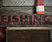 Custom Lake House Fishing Arrow Sign - Rustic Hand Made Vintage Wooden ENS1001105