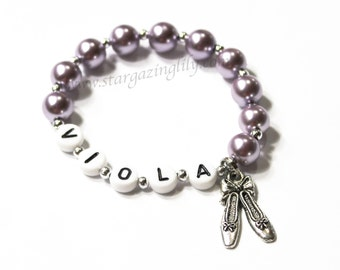 Ballet Party Favor Name Bracelet Jewelry. PERSONALIZED Name Bracelet with Ballet Pointe Shoe Charm and Pearls. Dance Recital Gift