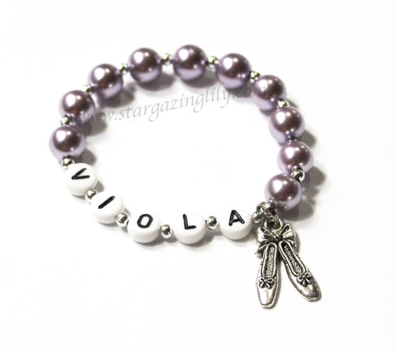 Ballet Jewelry PERSONALIZED Name Bracelet with Ballet Pointe Shoe Charm and Pearls Party Favor, Dance Recital Gift Girl's Jewelry Dance Gift