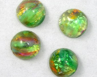 6mm Green Foil Cabochon #1907