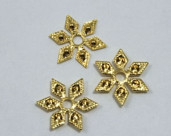 12mm Vintage Gold Six Point Star Filigree (4 Pieces) #1302