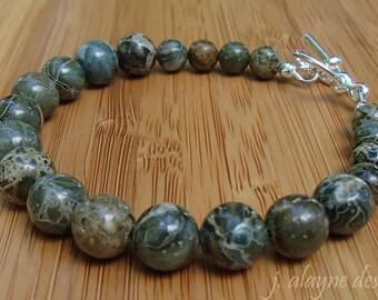 Green Brecciated Jasper Bracelet. Green Jasper. Green Stone Bracelet. Natural Gemstone Bracelet.