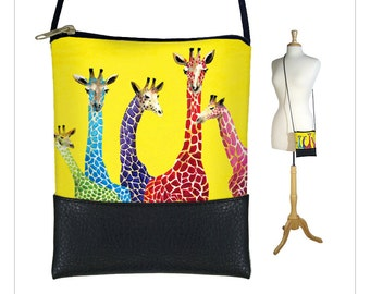Clara Nilles Sling bag, mini crossbody bag, small shoulder bag purse fits iPhone 6 Plus Case, giraffe yellow MTO