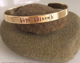 Hand Stamped BRASS Cuff NAME Bracelet for Little Girls!