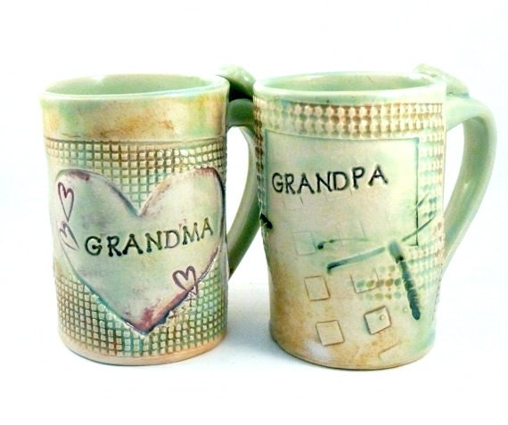 Personalized Grandma and Grandpa Mugs -  Large coffee cup or  pottery mug beer stein with dragonflies and hearts -  16 ounce