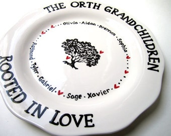 Personalized Family Tree Grandparents and Grandkids platter with red hearts and names