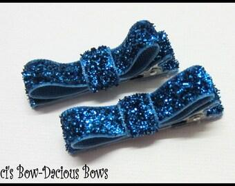Set of 2 Turquoise Glitter Hair Clips, Glitter Hair Clips, no-slip clips, toddler girl hair clips, baby girl clips, international shipping