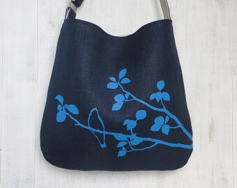 Navy Blue Tote Handbag - Shoulder Messenger Bag for Women - Bird on Tree Screen Printed Hemp Bag - Crossbody Bag - Fabric Tote