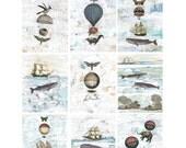 Clearance. Mini Print Pack, Set of 9 Prints , Hot Air Balloon and Nautical Art Prints ,Whimsical Print Gift Box