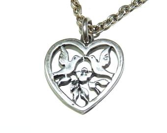 Love birds peandant necklace Sweetheart Sterling Silver Heart Couple pendant necklace