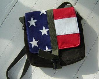 American Flag Reclaimed Suede Leather Messenger Bag