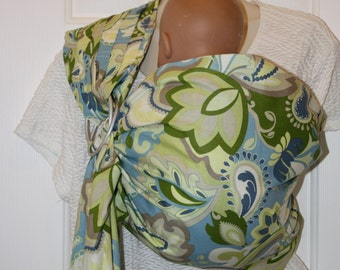 NEW Boutique Style Double Sided Ring Sling with Pleated Shoulder Blue Green and Creams