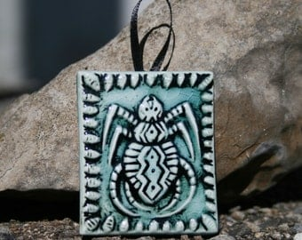 Spider - hanging tile ornament - turquoise and black - small handmade ceramic tile