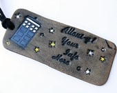 Personalized Luggage Tag Leather Doctor Who Tardis