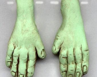 Polymer Clay Drilled Green Witch or Frankenstein Hands
