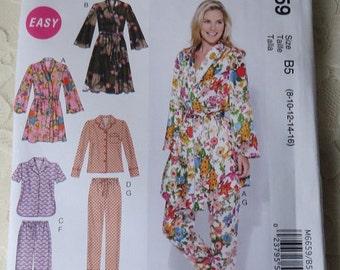 Mccall's Pattern M6659 Robe, Pajamas Size B5 Womens 8-16