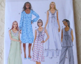 Butterick B5792 Sewing Pattern Nightgown, Pants, & Pajama Top, Size Womens Size Y 4-14