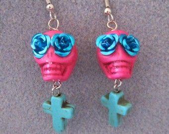 Day of the Dead Dia de los Muertos Sugar Skull Skelton Earrings Pink Blue 7