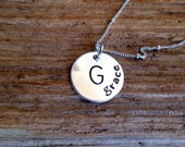 Stamped Sterling Silver Name and Initial Necklace