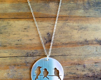 Hand Stamped Sterling Silver Bird Silhouette Necklace