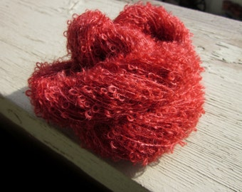 Mohair Petite Loop Boucle Yarn (Rhubarb Jam) Hand Dyed 100 yds 92 meters
