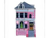 Pink House On Scott Street, San Francisco - Christmas Card