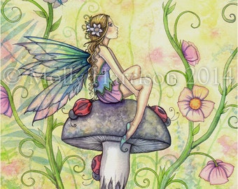 "Fairy Fine Art Fantasy Watercolor Print by Molly Harrison 8 x 10 ""A Happy Place"""