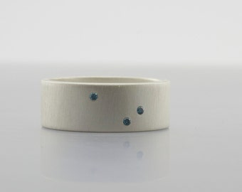 Scattered Blue Diamonds Ring - 8 mm Ring - Flush Set Genuine Gemstones - Matte Finish -  Alternative Wedding Band - Artisan Engagement Ring
