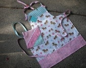 Girls Aprons - Girls Pony and Horse Apron - Girls Horse Apron - Girls pony Aprons -  - Pink Apron - Horse Apron - Annies Attic Aprons
