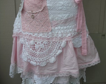 Pink Lace Aprons - Handmade Bridal Aprons - Vintage Linen Aprons - Annies Attic Aprons - French Flea Market Aprons - Annies Attic Aprons
