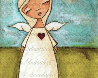 Print  of my original mixed media painting -  Pure of Heart 6 x 8