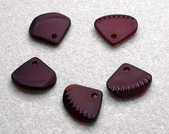 Cherry Red Triangle Bottle Pendants- recycled sea glass beads